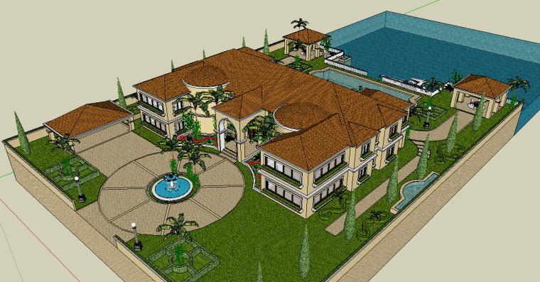 欧式庭院景观设计模型下载