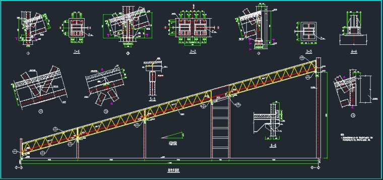 三跨钢结构通廊施工图_4