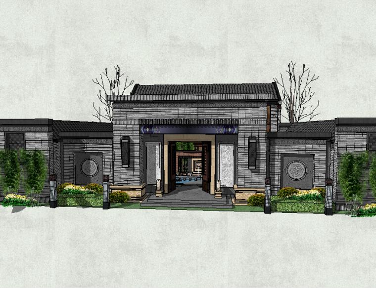 精品居住区庭院景观模型设计(新中式风格)