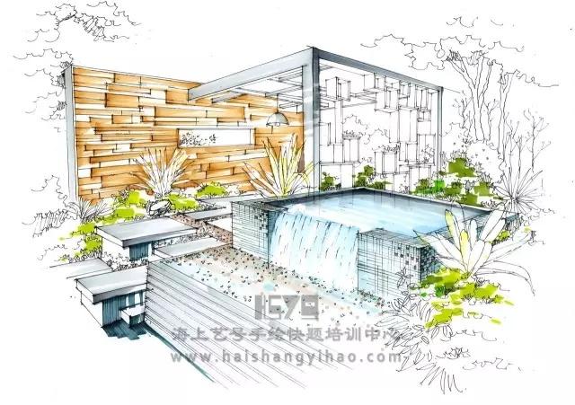 景墙的画法步骤图解析:庭院中间有道墙_6