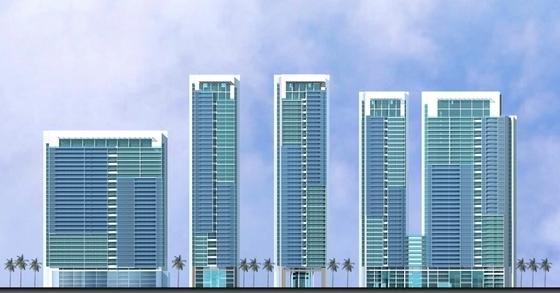 超高层现代风格住宅区立面图