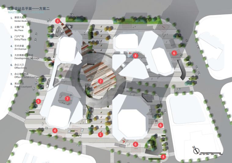[浙江]休闲开放商业绿地景观概念设计-概念方案二平面图
