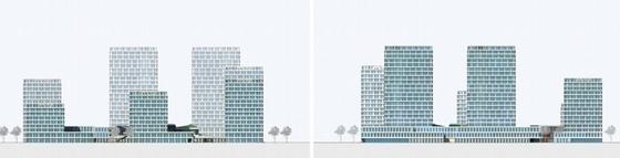 [上海]辐射组合型现代化商业及办公综合体设计方案文本-辐射组合型现代化商业及办公综合体立面图