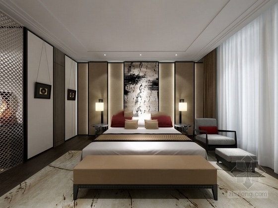 精品时尚简约现代三居室室内装修施工图(含效果图)卧室效果图
