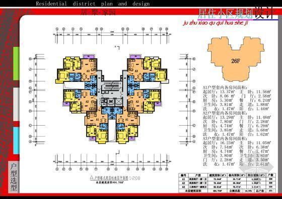 17A户型塔式高层标准层平面
