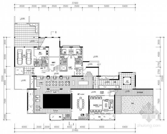 [北京]某三层豪华别墅户型平面图(1100平方米)