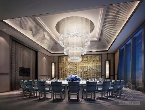 [芜湖]广场商业圈典雅新中式风格餐厅装修施工图(含效果)效果图