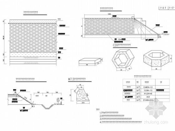 [湖北]一级公路路基路面设计图192张(含排水边坡防护)-空心六角块满铺护坡设计图