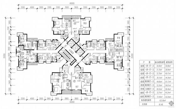 塔式高层一梯十户户型图