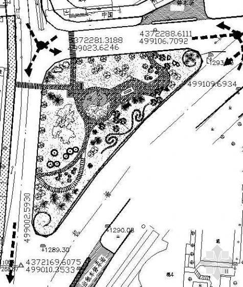 某街头小游园绿化平面图