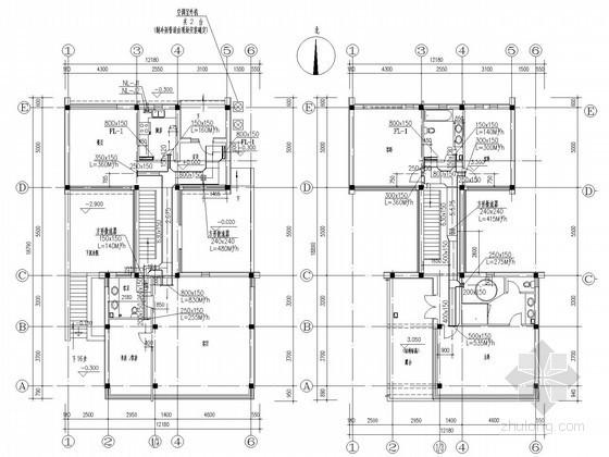 别墅建筑空调系统设计施工图(含给排水设计)