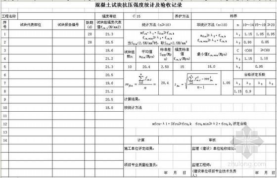混凝土试块抗压强度统计及验收记录(GBT50107-2010)