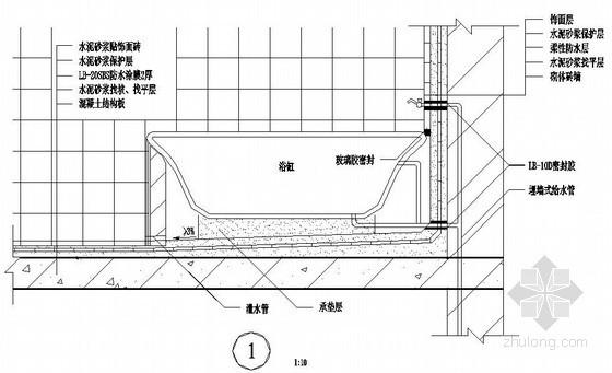 卫生间浴缸部位防水做法详图