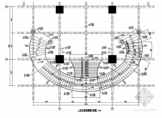 某螺旋形钢楼梯结构设计图