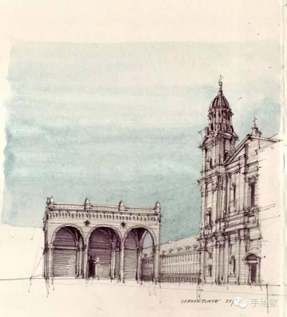 百年经典建筑设计手绘图_34