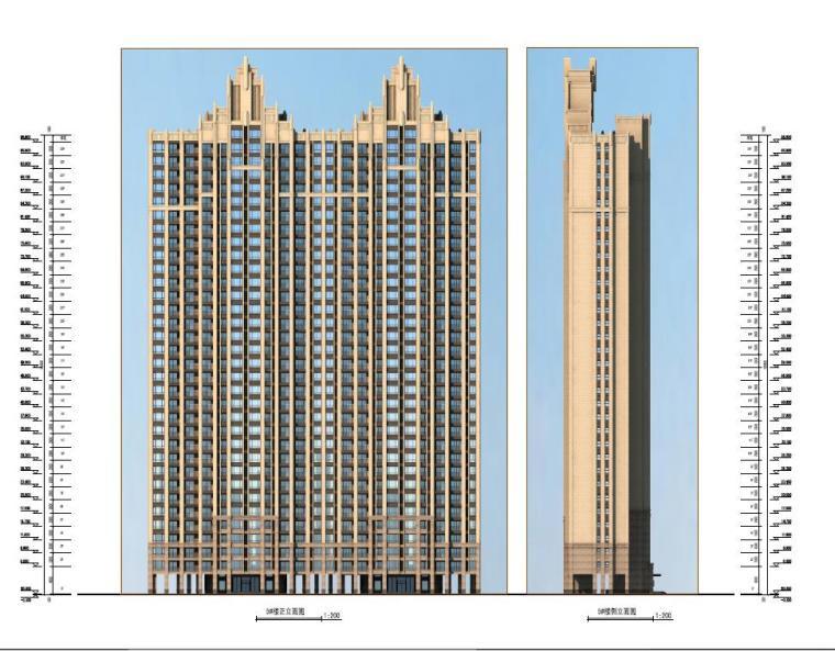 高层现代artdeco风格优质高端点式住宅楼建筑立面图