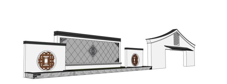 中式风格白色调景墙su模型设计