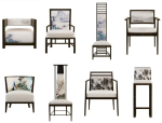 8款水墨画元素新中式风格椅子