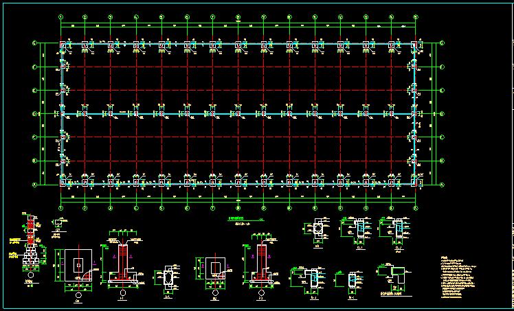 单层双跨实腹式门式刚架结构车间厂房结构施工图_7