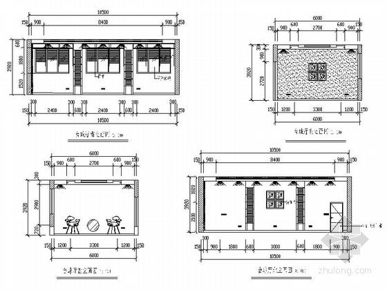 [毕业设计]中式风情度假酒店设计装修施工图酒店台球厅立面图