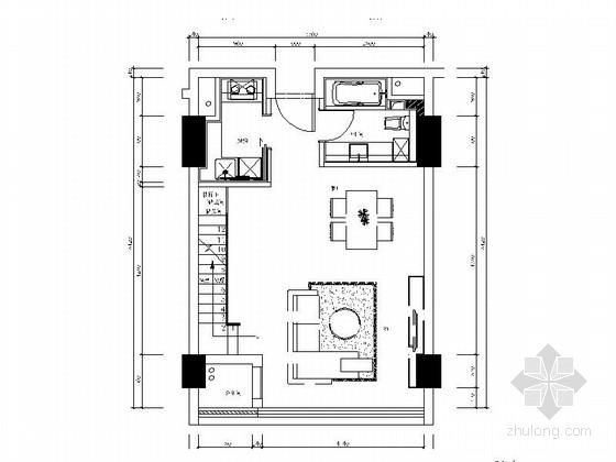[上海]精品商务楼54平LOFT风格两层住宅室内装修施工图