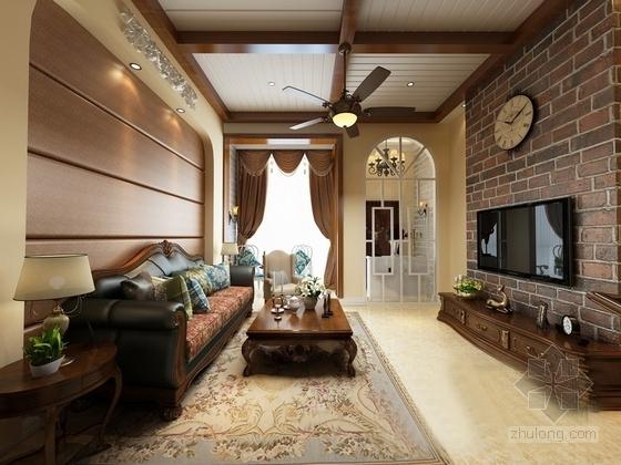 经典美式风情三层别墅样板间CAD装修施工图(含高清效果图)客厅效果图
