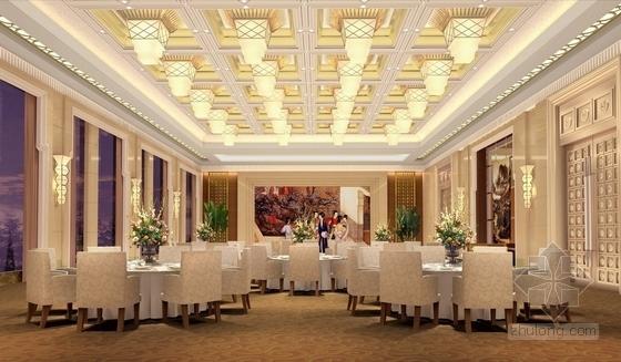 [河北]奢华古典山水园林式宾馆精装修设计方案图方宴会厅效果图