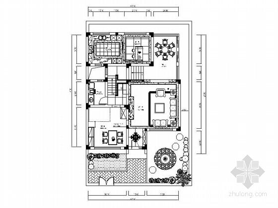 [江苏]新港名城花园新中式三层别墅室内装修设计施工图(含效果)
