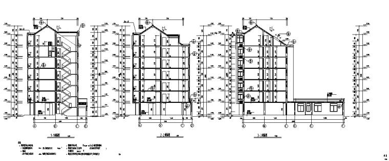 3套商住综合楼建筑设计施工图CAD-多层商住综合楼建筑设计剖面图