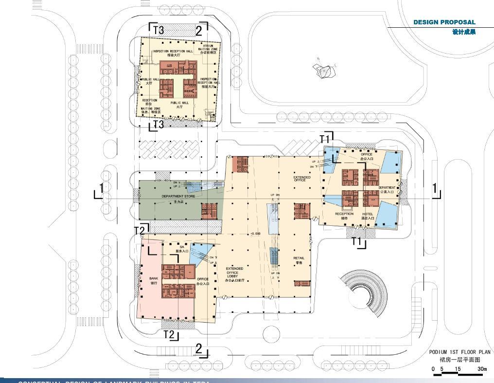 超高层现代风格塔楼商业综合楼建筑分析图