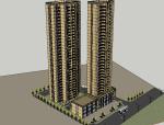 黄冈国土地块建筑模型设计(SU模型)