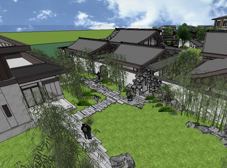 [景观场景模型]中式庭院住宅院子景观模型