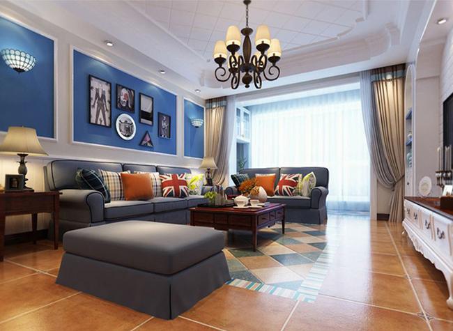 比地毯还漂亮的瓷砖[祥隆万象城120平地中海装修风格效果图!