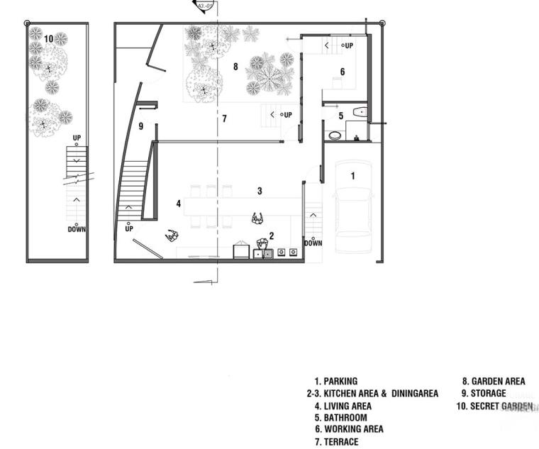 泰国设有阶梯式屋顶露台Fuzzy住宅-13