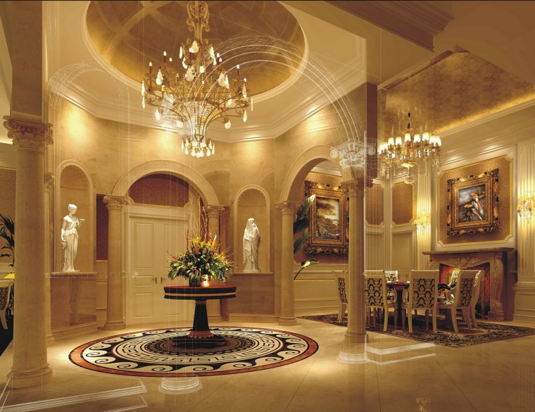 新豪华欧式古典样板房室内装修图(含效果)