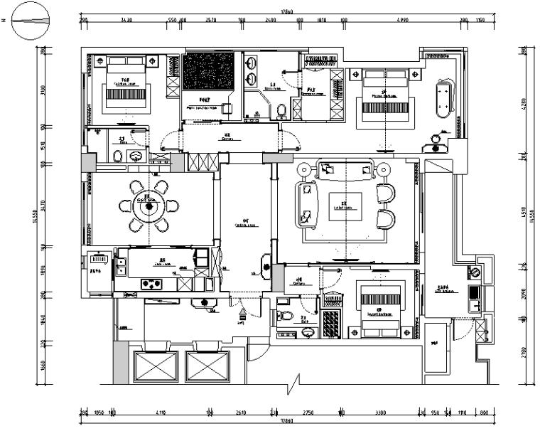 美式风格金色海岸住宅设计施工图(附效果图)