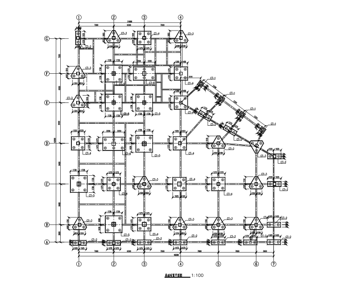 四层框架结构食堂全套施工图(建筑结构水电暖)-基础平面布置图额