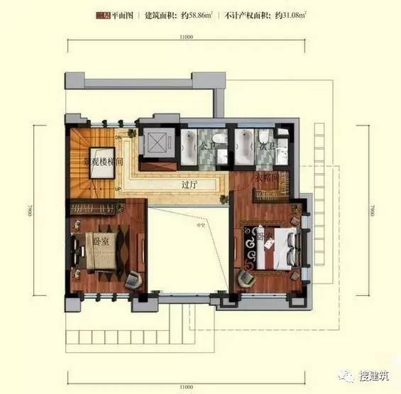 万科罕见的270㎡5房6卫双拼户型,庭院高达228㎡_7