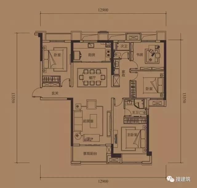 万科罕见的270㎡5房6卫双拼户型,庭院高达228㎡_46