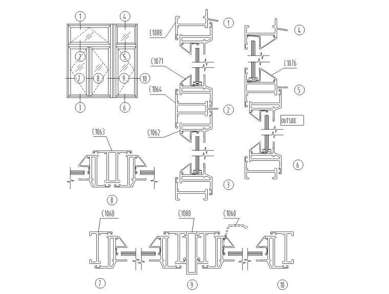 175个金属门窗节点构造详图——建筑详图精
