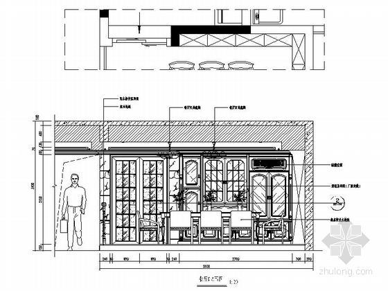 [深圳]195平经典豪华欧式五居室样板间装修设计施工图餐厅立面图
