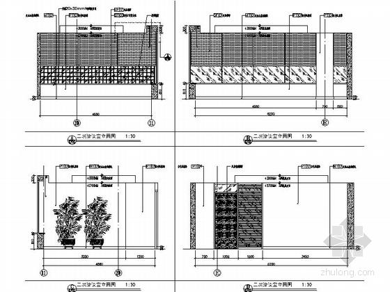 [天津]国际化金融股份制公司现代办公楼装修施工图(含实景及报价表)洽谈室立面图