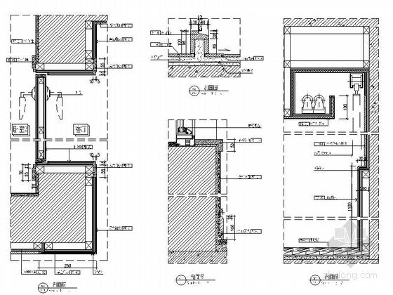 [武汉]花园洋房时尚两居室样板间装修施工图(含效果实景及手绘图)大样图