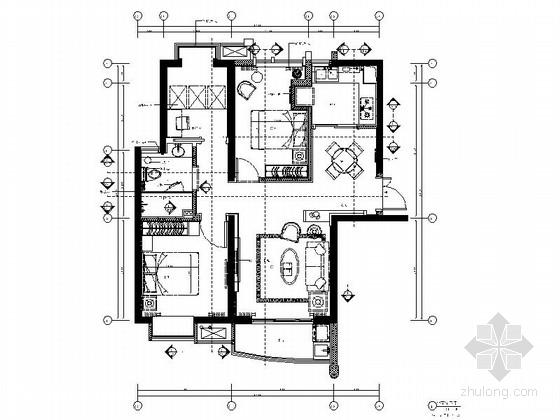 [郑州]低调奢华风格三居室样板房装修施工图(含效果)