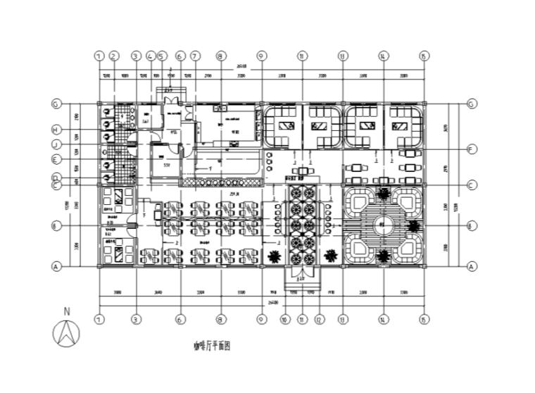 长26.4米宽13.2米单层藏式咖啡厅装修施工图