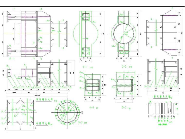 复杂地质条件20米深基坑开挖支护及降水施工图(咬合桩加内支撑)-钢支撑与钢围檩大样图