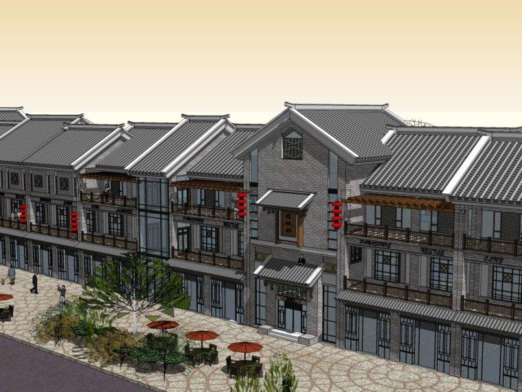 商业街中式风格三层建筑方案设计(SU模型)-索引图016