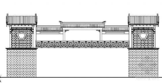 某古建过街桥立面设计图