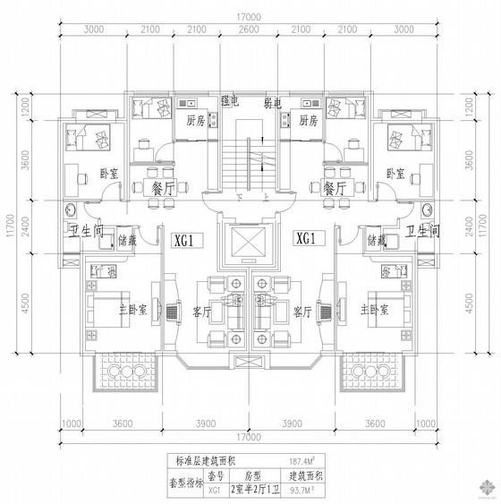 板式多层一梯两户二室半二厅一卫户型图(187/187)