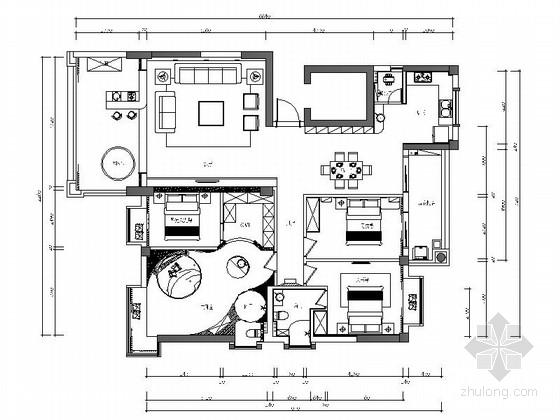 名师设计简约现代四居室样板间CAD装修施工图(含效果)